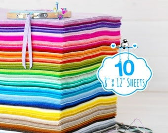 "100% Wool Felt Sheets - 10 Sheets of 8"" X 12"" - Merino Wool Felt - Pure Wool Felt - 10 Felt Sheets - You Choose your Colors"