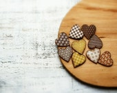Wooden heart magnets set of 9 geometric minimalist chocolate brown caramel toffee coffee