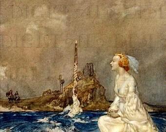 King ARTHUR's Sword!  Vintage Storybook Illustration. Vintage Illustration Digital Download. Fairy Tale Printable Image.