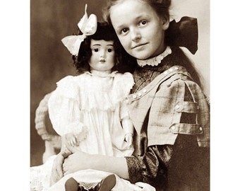 Girl with Doll Fabric Block - Repro from Vintage Victorian Photo Postcard