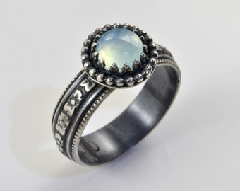 Blue Chalcedony Ring in Sterling Silver, Faceted Rose Cut Aqua Chalcedony Stone