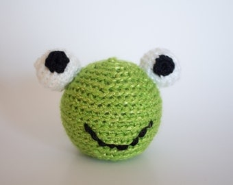 Crocheted Frog - Little Bright Lime Green, Amigurumi Stuffed Animal, Frog Head - Perfect for Babies and Toddlers - Fun Stocking Stuffer