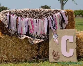 Fabric Banner -Pink Cowgirl Shabby Chic Garland, Photo Prop, Party Decor