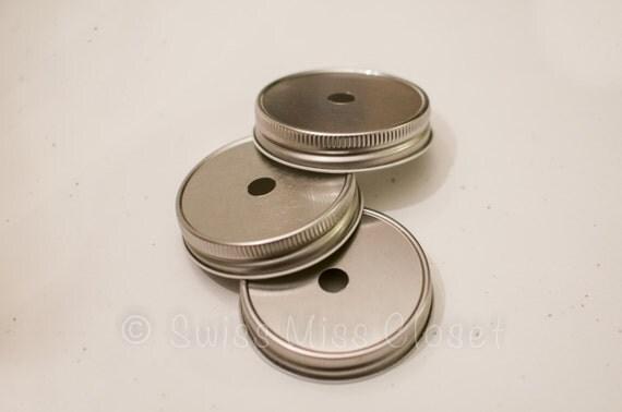 Set of 12 One Piece Silver Mason Jar Lids for DIY Mason Jar Drinking Glasses
