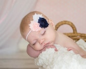 Navy blue &  pink Baby Headband, Baby girl headband, Flower headband, Baby bow, newborn headband, toddler girl