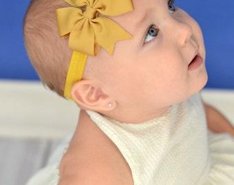 U CHOOSE COLOR  Deep Mustard  Hair bow baby girl grosgrain hairbow headband toddler newborn