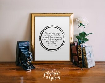 INSTANT DOWNLOAD Bible Verse Printable, Scripture Print Christian wall art decor poster, inspirational quote - 1 Corinthians 2:9