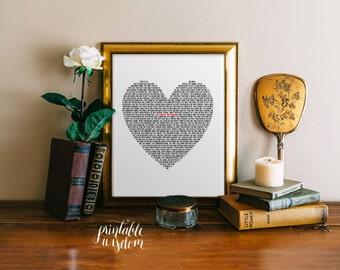 Lord's Prayer printable scripture Bible verse Art Print, Heart typography poster, digital INSTANT DOWNLOAD Printable Wisdom