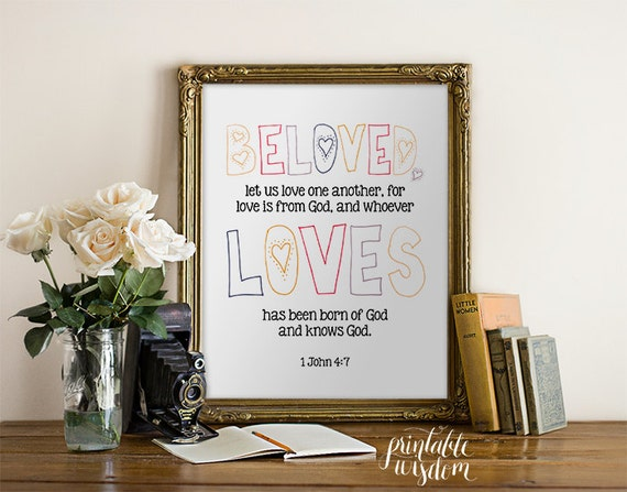 Bible Verse Art printable, Christian scripture art print, wall decor poster, inspirational quote 1 John 4:7 - INSTANT DOWNLOAD