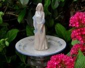 Girl with Blue Shawl Garden Totem Stake, Yard Art, Bird Feeder, Garden Decor, Garden Sculpture