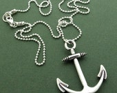 Anchor Pendant Necklace. Sterling Silver Nautical Jewelry. Gift for Him.. Nautical jewelry. Unisex Necklace. Nautical Pendant Silver Anchor