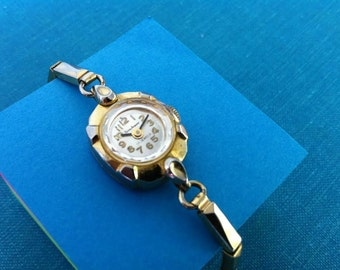 Vintage Women's Watch,  Pierre Jacquard Round Two-Tone Ladies Watch with 17 Jewels Movement and Matching Gold Tone Band