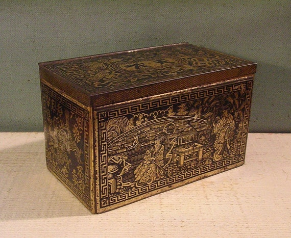 Vintage Tea Tin with Asian Motifs Distressed Black and Gold Patina - Lovely