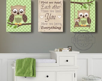 owl canvas art first we had you owl decor art for children owls