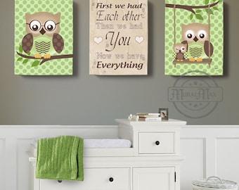 owl canvas art first we had you owl decor art for children owls nursery art set of 3 nursery canvas artbaby boys room art print
