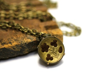 """Antique Flower Necklace, Victorian Floral Jewelry, Button Charm, 1800s Gold Keepsake, Gift Heirloom - """"Everlasting Rose"""""""