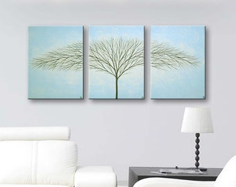 Canvas Art Blue Paintings Art Wall Art Wall Decor Home Decor Wall Hangings Tree Painting Modern Art Light Blue Trees 36x16 ORIGINAL PAINTING