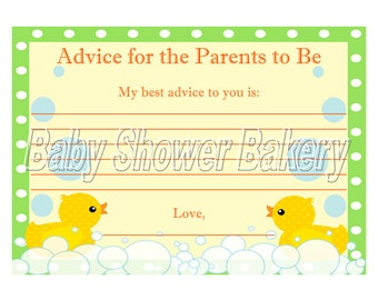 Rubber Duck Theme Baby Shower Game, Rubber Duck Baby Advice Cards, Advice for Parents to Be Baby Shower Game, Printable Baby Advice Cards
