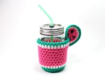 Watermelon Mason Jar Mug, Jar Tumbler, Drinking Glass Set, Crochet Cozy With Sip Cup, Smoothie Jar, Party Pint Glass