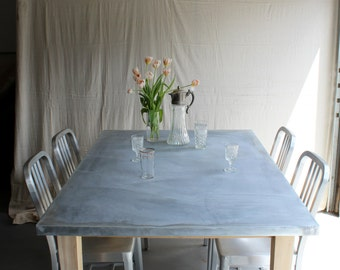 Zinc Top Farm Table - Reclaimed cedar pine wood barn rustic farmhouse tapered legs french county cottage chic modern minimalist contemporary