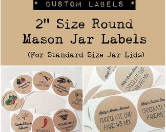 """2"""" Custom Mason Jar Labels Stickers. Wedding Favor Labels. Product Labels. Custom Round Stickers. Kraft Round Labels. Once Upon Supplies"""