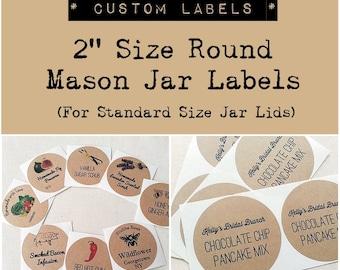 """2"""" Custom Mason Jar Labels. Wedding Favor Labels. Bridal Shower Favor Seals. Handmade Product Labels. Kraft Round Labels. Once Upon Supplies"""