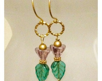 Czech Glass Flower and Leaf Earrings on Gold Vermeil