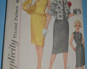 Vintage 60s Simplicity 3882 Juniors and  Misses One Piece Dress Jacket Sewing Pattern - Size 12 Bust 32