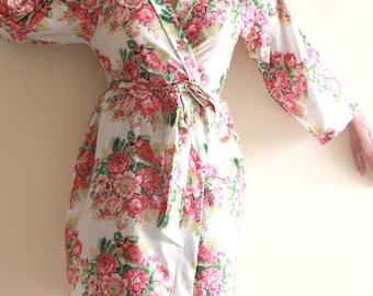 103, Floral kimono cross over robe, CUSTOM, Bridesmaids, Bride, Bridal, cotton robe, spa robe, beach cover up, dressing up robe, maternity