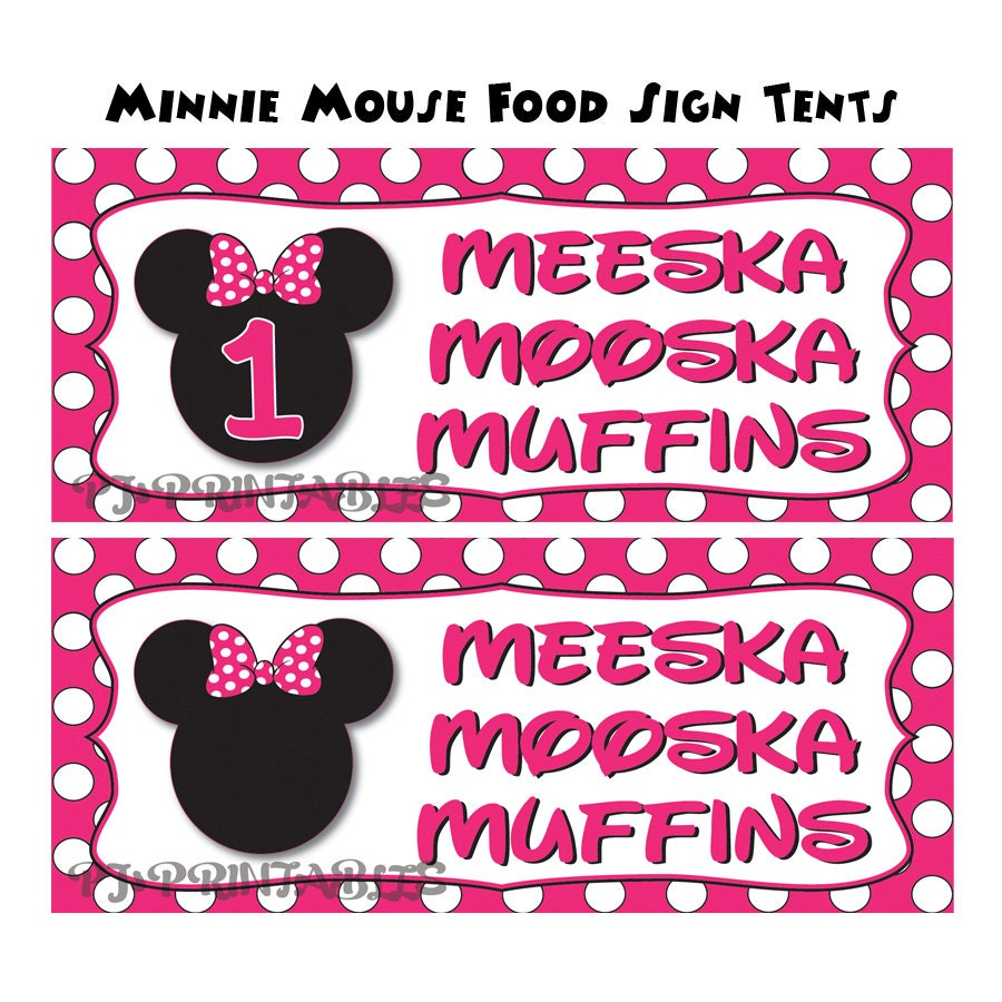 Minnie Mouse Themed Food Sign Tent Cards Customized Digital