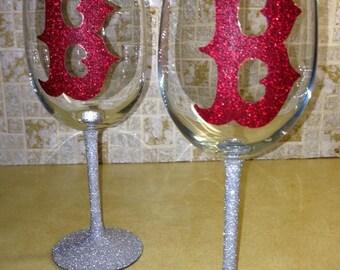 Red Sox B's wine glasses