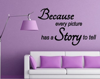 Wall Quotes Because every Picture has a Story to Tell Vinyl Wall Decal Quote Removable Home Wall Sticker Home Decor (X78)