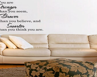 Wall Quotes You Are Stronger Than You Seem Vinyl Wall Decal Quote Removable Wall Sticker Home Decor (202)
