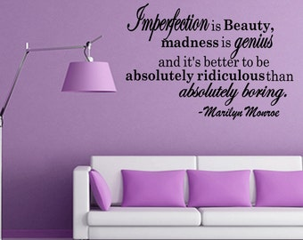 Imperfection Is Beauty Marilyn Monroe Quote Decal Sticker Vinyl Wall Art Wall Quote (B27)