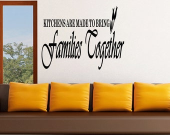 Wall Quotes Kitchens are Made to Bring Families Together Vinyl Wall Decal Quote Removable Kitchen Wall Sticker Home Decor (B36)