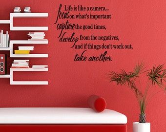 Life is like a camera Wall Quotes Sayings Words Art Decals Home Decor Vinyl Removable Letters (B53)