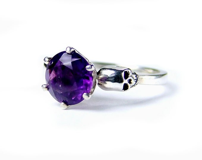 Skull Engagement Ring with Natural Amethyst in Sterling Silver - All Sizes