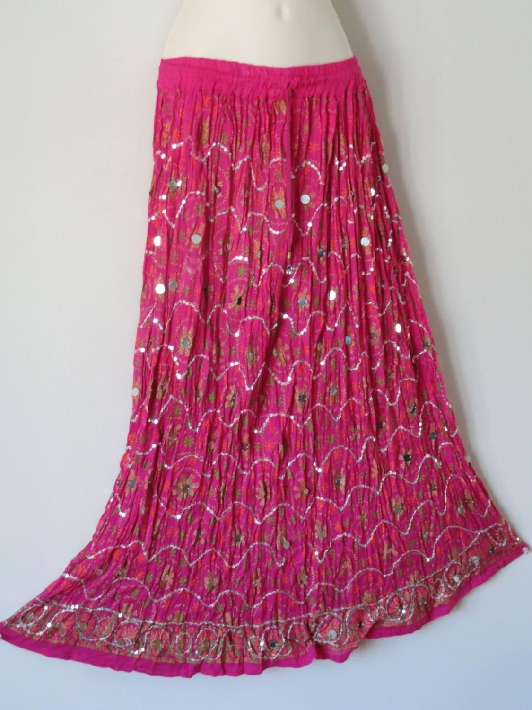 indian skirt maxi crushed cotton pink mirror work