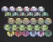30 Horror Flatback or Pinback buttons 1 inch