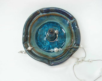 Pottery ring holder dish, Teal with blue glass, Wheel thrown stoneware