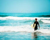 Surf Photo - Surfer Ocean - Blue Ocean Surf - Calm Surf Beach - 8x10 8x8 10x10 11x14 12x12 20x20 16x20 - Photography