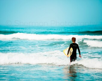 Surf Photo - Surfer Ocean - Blue Ocean Surf - Calm Surf Beach - 8x10 8x8 10x10 11x14 12x12 20x20 16x20 - Photography