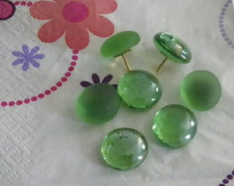 Green Decorative Pushpins or Refrigerator Magnets-Green Glass Dome Decor for Your Office School or Kitchen BUY 5 Sets, GET the 5th FREE