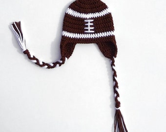 Download PDF Crochet Pattern Football Earflap Hat Football Beanie Newborn Toddler Child Sport Hat Boy Helmet Children Costume Clothing DIY