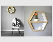 Hexagon Shelf . Honeycomb Shelf . Geometric Shelving . Modern Shelving . Pine Wood Shelf . Minimal Shelves