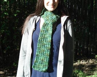 Warm Multicolor Green Woolen Scarf