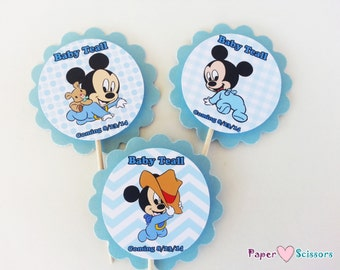 personalized baby mickey baby shower or 1st birthday 2 scallop cupcake