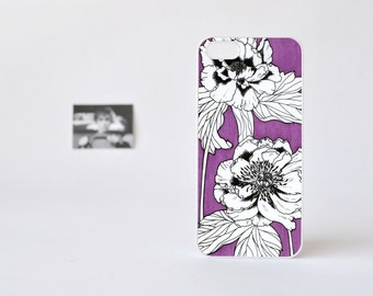 Floral iPhone 4 Case - iPhone 5 Case - iPhone 4/4s Case - Peonies in Violet - Hand Drawn Flowers