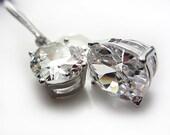 Cubic Zirconia Earrings Wedding Jewelry Bridesmaid Jewelry Clear Earrings Dangle Earrings Evening Jewelry Gift for her