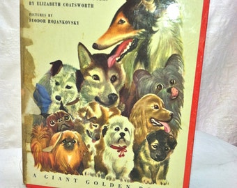 Vintage Dog Stories Picture Book. Giant Golden Book of Dog Stories. 1950s. SOOO Charming. Bright, Colorful Illustrations.